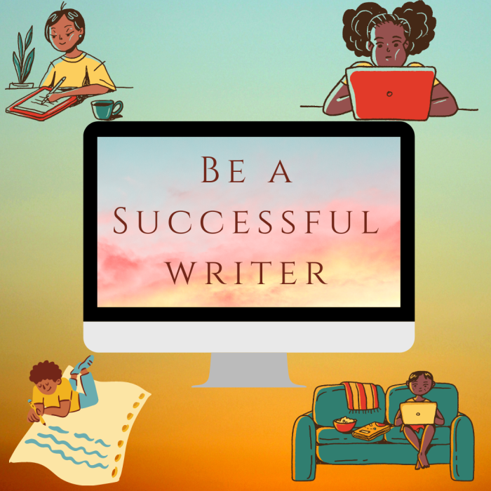 Cover image for How to Use Facebook as a Writer. Four Black writers surrounding a screen that reads Be a Successful Writer. Tips on how to use social media as a writer.