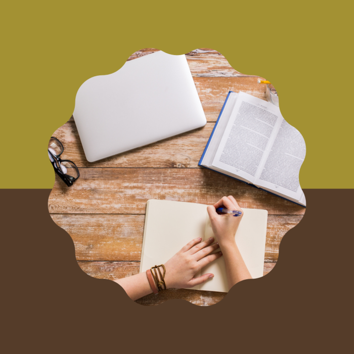 A computer, pair of glasses, and open book lay in front of someone writing in a journal. Cover image for Books to Read Before Starting a Novel
