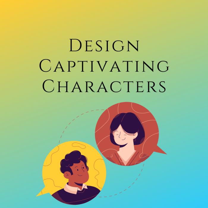 Cover image for Designing Captivating Characters by Aigner Loren Wilson. How to build a character. How to design characters. What are characters in fiction. Two heads looking at each other and smiling.