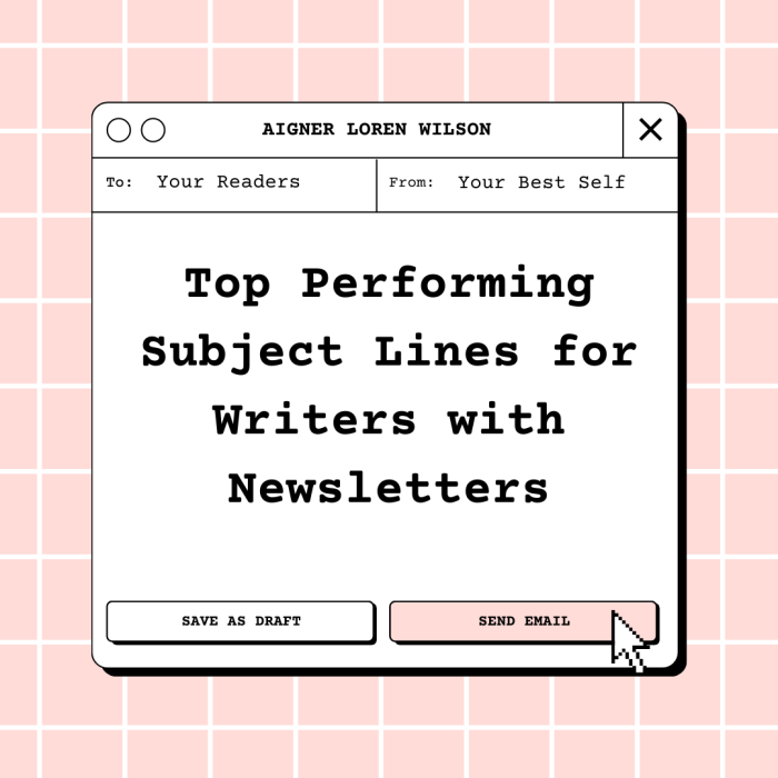 Top Performing Subject Lines for Writers by Aigner Loren Wilson article cover. There is a pink gridded background and over top of that is a message box. At the top of the message box is Aigner Loren Wilson. Below that it says like an email (to: Your Readers) (from: Your Best Self). Inside the message box in large letters are the words Top Performing Subject Lines for Writers with Newsletters. Below that are two buttons , save as draft and send email, and a mouse pointer.